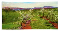 Orchard With Flowering Trees Beach Towel