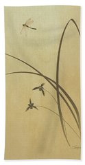 Orchid And Dragonfly Beach Towel