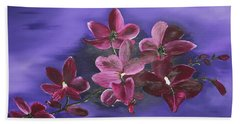 Orchid Blossoms On A Stem Beach Towel