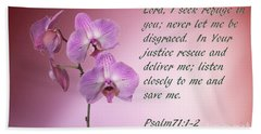 Orchid In The Pink Psalms 71 Beach Sheet by Linda Phelps