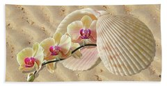 Orchids And Shells On The Beach Beach Towel by Gill Billington
