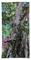 Orchids In A Tree Beach Towel