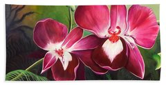 Orchids In The Night Beach Towel