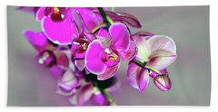 Beach Towel featuring the photograph Orchids On Gray by Ann Bridges