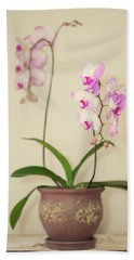 Orchids On Sideboard Beach Towel