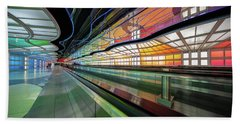 Illuminated Underpass, Chicago Airport Beach Towel