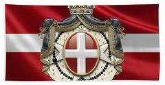 Order Of Malta Coat Of Arms Over Flag Beach Towel