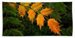 Oregon Grape Autumn Beach Sheet by Mary Jo Allen