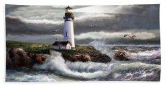 Oregon Lighthouse Beam Of Hope Beach Towel