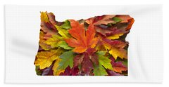 Oregon Maple Leaves Mixed Fall Colors Background Beach Towel