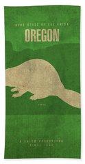 Oregon State Facts Minimalist Movie Poster Art Beach Towel