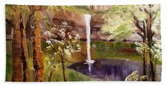 Oregon Waterfall Beach Towel by Larry Hamilton