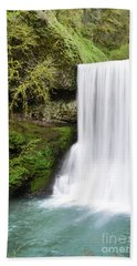Beach Sheet featuring the photograph Oregon Waterfall Mountain Landscape by Andrea Hazel Ihlefeld