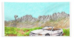 Beach Towel featuring the painting Organ Mountain Mustang by Jack Pumphrey