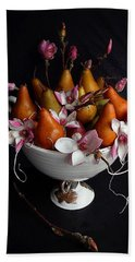 Organic Bosc Pears And Magnolia Blossoms Beach Towel