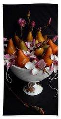 Organic Bosc Pears And Magnolia Blossoms Beach Sheet