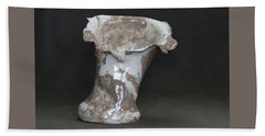 Organic Marbled Clay Ceramic Vase Beach Towel by Suzanne Gaff