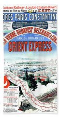 Orient Express Railway Route, Travel Poster Beach Towel