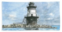 Beach Towel featuring the painting Orient Point Lighthouse by Dominic White