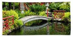 Oriental Bridge In A Tropical Garden Beach Towel