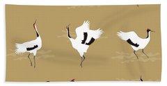 Oriental Cranes Beach Towel