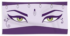 Oriental Dancer With Green Eyes Beach Towel