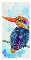 Beach Towel featuring the painting Oriental Dwarf Kingfisher by Zaira Dzhaubaeva