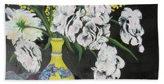 Oriental Vase And Flowers Beach Towel