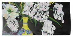 Oriental Vase And Flowers Beach Towel