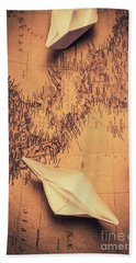 Origami Boats On World Map Beach Towel