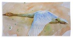 Original Animal Artwork Watercolour Painting  Wild Goose On Paper#16-6-16-04 Beach Sheet by Hongtao Huang
