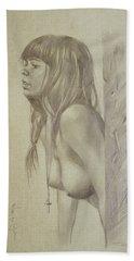 Original Artwork Drawing Female Nude Girl Women On Paper#16-6-29-01 Beach Sheet by Hongtao Huang