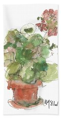 Original Buspaintings Geranium Watercolor Painting By Kathleen Mcelwaine Beach Towel