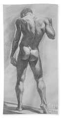 Original Charcoal Drawing Male Nude Mam On Paper #16-1-15-02 Beach Sheet