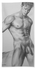 Original Charcoal Drawing Male Nude Man On Paper #16-1-15 Beach Sheet by Hongtao Huang