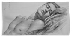 Original Drawing  Art Male Nude Men Gay Interest Boy On Paper #11-02-01 Beach Towel