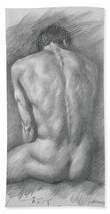 original Drawing male nude man #17325 Beach Sheet