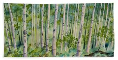 Beach Towel featuring the painting Original Watercolor - Summer Aspen Forest by Cascade Colors