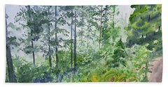 Beach Towel featuring the painting Original Watercolor - Summer Pine Forest by Cascade Colors