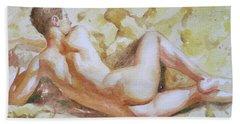 Original Watercolour Male Nude Men On Paper#16-11-6 Beach Towel