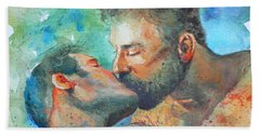 Original Watercolour Painting Art Portrait Of Two Men ' Kiss  On Paper #16-1-26-07 Beach Sheet by Hongtao Huang