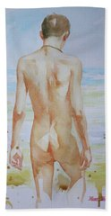 Original Watercolour Painting Boy Nude On Paper#16-9-19 Beach Towel