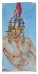 Original Watercolour  Painting  Male Nude On Paper#16-11-18-01 Beach Towel