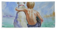Original Watercolour Painting Nude Boy And Dog On Paper#16-11-18 Beach Sheet by Hongtao Huang