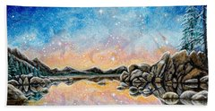Orion Over Tahoe Winter Beach Towel