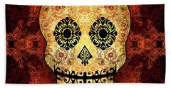 Ornate Floral Sugar Skull Beach Towel