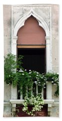 Beach Sheet featuring the photograph Ornate Window With Red Shutters by Donna Corless