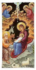 Orthodox Nativity Scene Beach Sheet by Munir Alawi