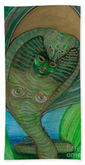 Beach Towel featuring the drawing Wadjet Osain by Gabrielle Wilson-Sealy