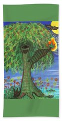 Beach Towel featuring the drawing Osain Tree by Gabrielle Wilson-Sealy